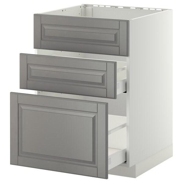 METOD / MAXIMERA خ. قاعدة لحوض+3 واجهات/2أدراج, أبيض/Bodbyn رمادي, 60x60 سم