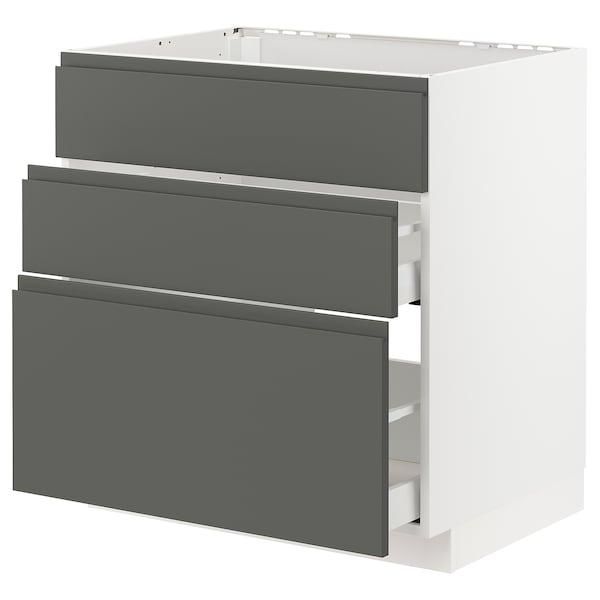 METOD / MAXIMERA خ. قاعدة لحوض+3 واجهات/2أدراج, أبيض/Voxtorp رمادي غامق, 80x60 سم