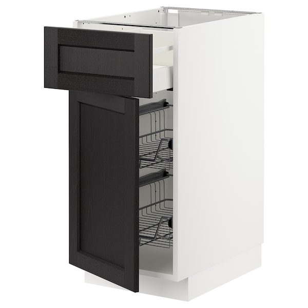METOD / MAXIMERA Base cab w wire basket/drawer/door, white/Lerhyttan black stained, 40x60 cm