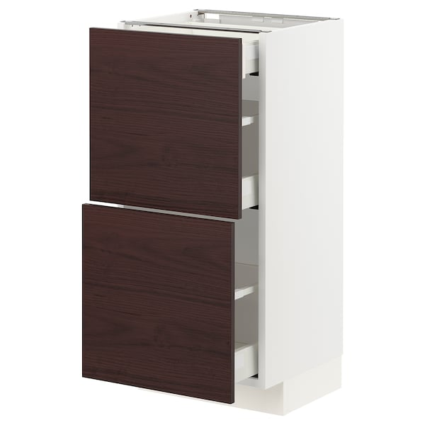 METOD / MAXIMERA Base cab with 2 fronts/3 drawers, white Askersund/dark brown ash effect, 40x37 cm