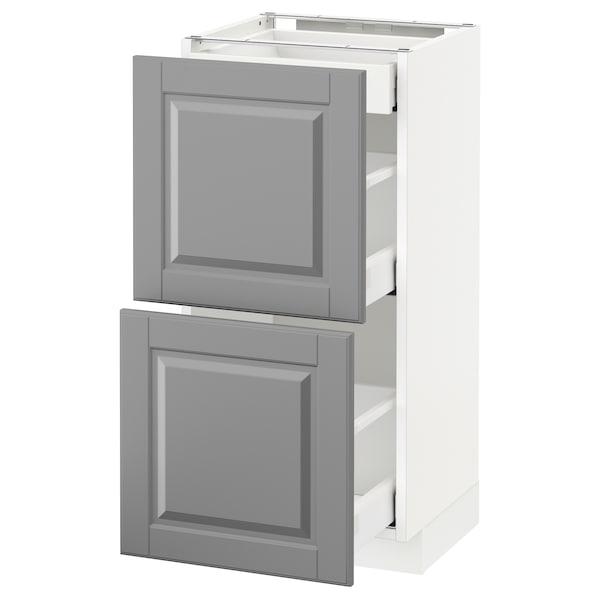 METOD / MAXIMERA خ. قاعدة مع 2واجهات/3أدراج, أبيض/Bodbyn رمادي, 40x37 سم