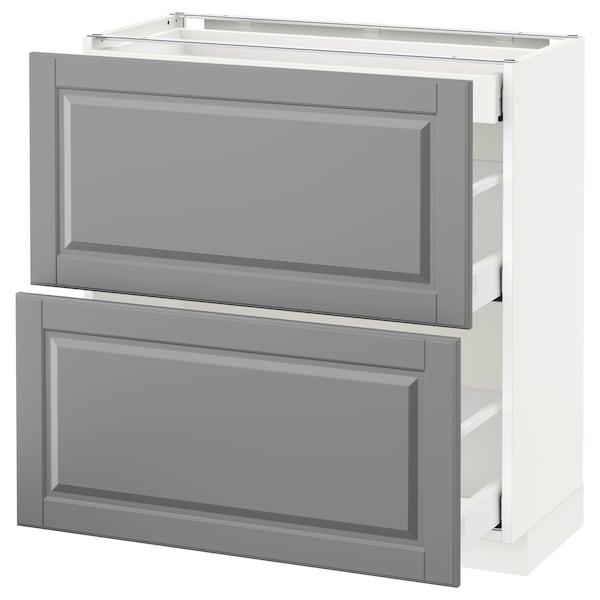 METOD / MAXIMERA خ. قاعدة مع 2واجهات/3أدراج, أبيض/Bodbyn رمادي, 80x37 سم