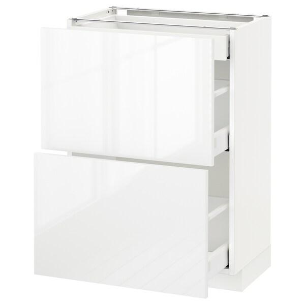 METOD / MAXIMERA خ. قاعدة مع 2واجهات/3أدراج, أبيض/Ringhult أبيض, 60x37 سم