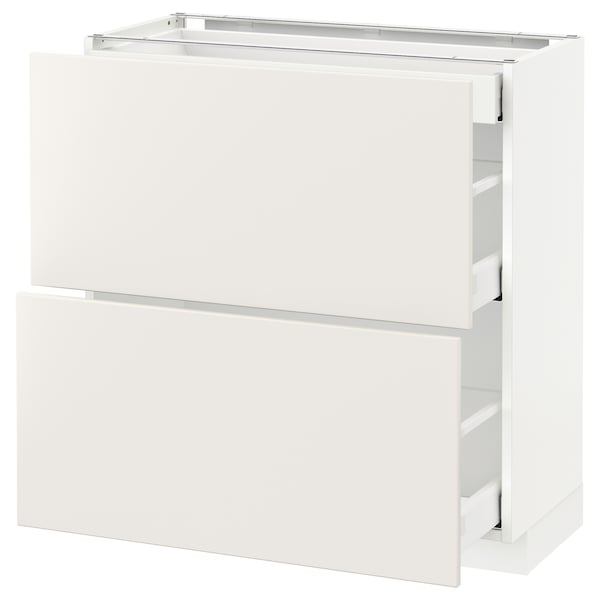 METOD / MAXIMERA خ. قاعدة مع 2واجهات/3أدراج, أبيض/Veddinge أبيض, 80x37 سم