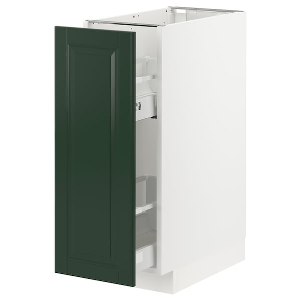 METOD / MAXIMERA Base cabinet/pull-out int fittings, white/Bodbyn dark green, 30x60 cm