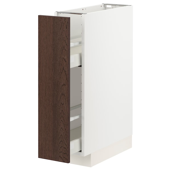 METOD / MAXIMERA Base cabinet/pull-out int fittings, white/Sinarp brown, 20x60 cm