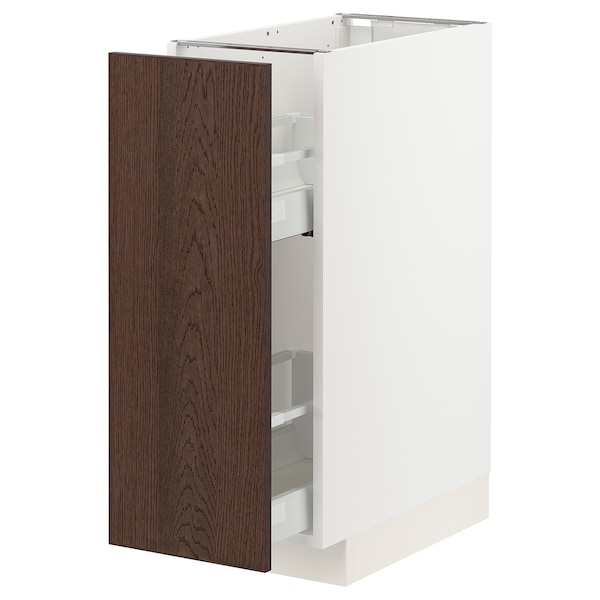 METOD / MAXIMERA Base cabinet/pull-out int fittings, white/Sinarp brown, 30x60 cm