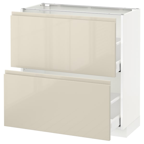 METOD / MAXIMERA Base cabinet with 2 drawers, white/Voxtorp high-gloss light beige, 80x37 cm
