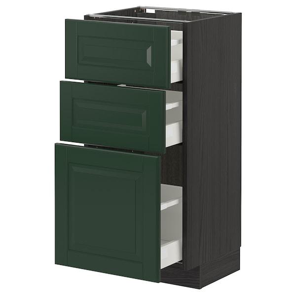 METOD / MAXIMERA Base cabinet with 3 drawers, black/Bodbyn dark green, 40x37 cm