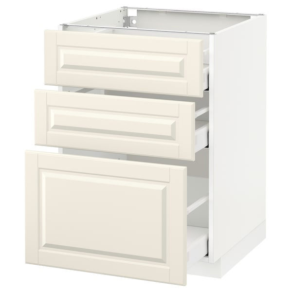 METOD / MAXIMERA Base cabinet with 3 drawers, white/Bodbyn off-white, 60x60 cm