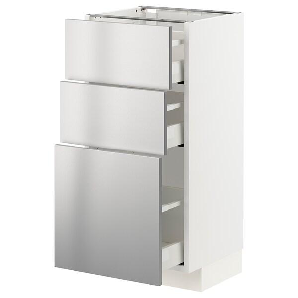 METOD / MAXIMERA خزانة أساسية مع 3 أدراج, أبيض/Vårsta ستينلس ستيل, 40x37 سم