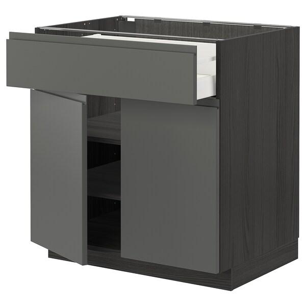 METOD / MAXIMERA خزانة قاعدة مع درج/بابين, أسود/Voxtorp رمادي غامق, 80x60 سم