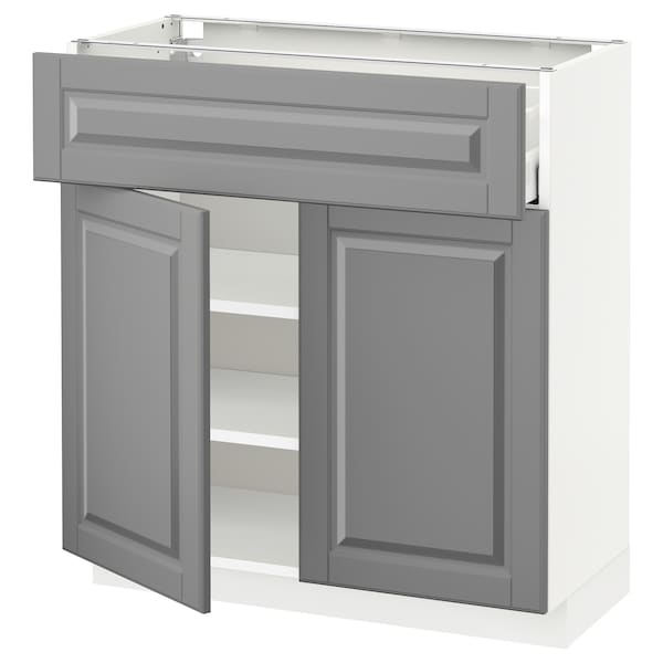 METOD / MAXIMERA خزانة قاعدة مع درج/بابين, أبيض/Bodbyn رمادي, 80x37 سم