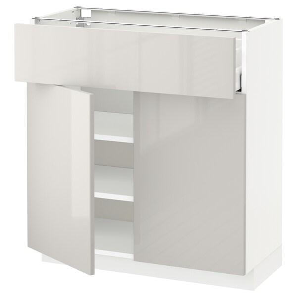 METOD / MAXIMERA خزانة قاعدة مع درج/بابين, أبيض/Ringhult رمادي فاتح, 80x37 سم