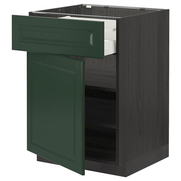 METOD / MAXIMERA خزانة قاعدة مع درج/باب, أسود/Bodbyn أخضر غامق, 60x60 سم
