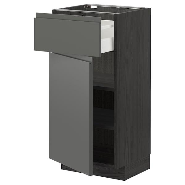 METOD / MAXIMERA خزانة قاعدة مع درج/باب, أسود/Voxtorp رمادي غامق, 40x37 سم