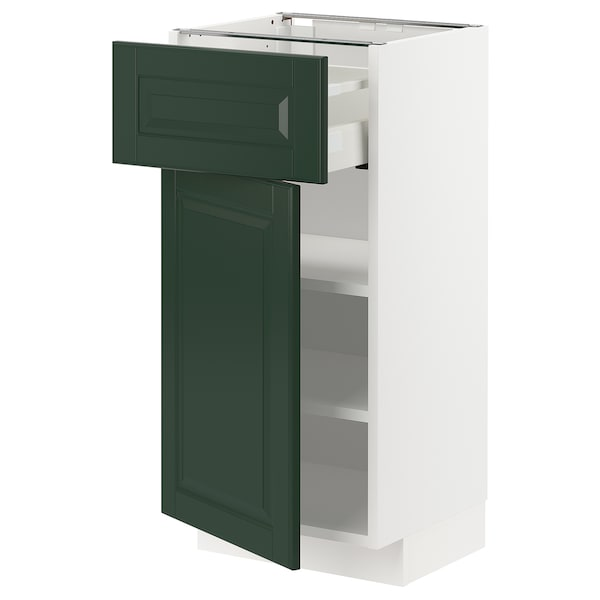 METOD / MAXIMERA خزانة قاعدة مع درج/باب, أبيض/Bodbyn أخضر غامق, 40x37 سم