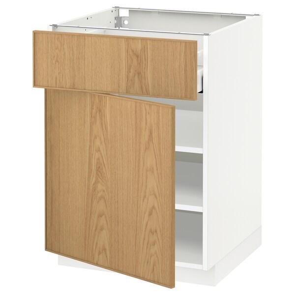 METOD / MAXIMERA خزانة قاعدة مع درج/باب, أبيض/Ekestad سنديان, 60x60 سم