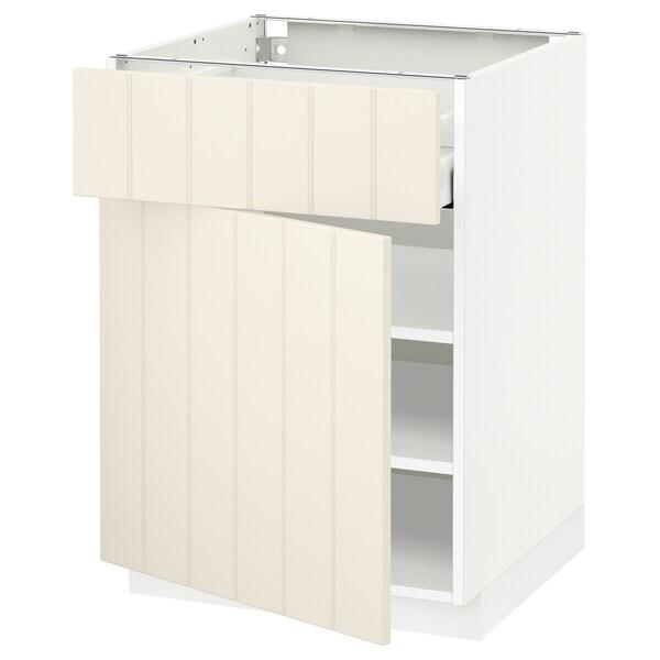 METOD / MAXIMERA خزانة قاعدة مع درج/باب, أبيض/Hittarp أبيض-عاجي, 60x60 سم