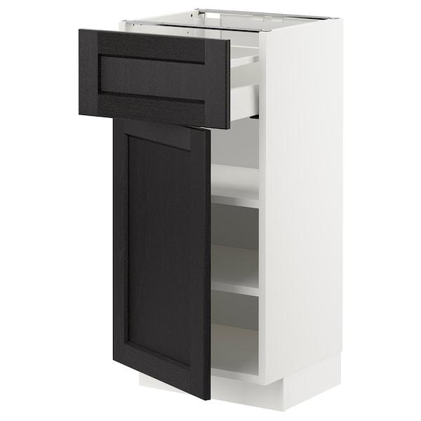 METOD / MAXIMERA خزانة قاعدة مع درج/باب, أبيض/Lerhyttan صباغ أسود, 40x37 سم
