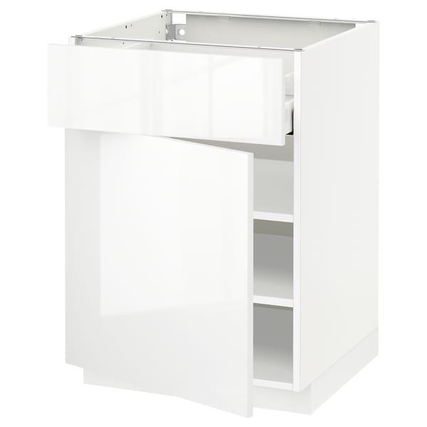 METOD / MAXIMERA خزانة قاعدة مع درج/باب, أبيض/Ringhult أبيض, 60x60 سم