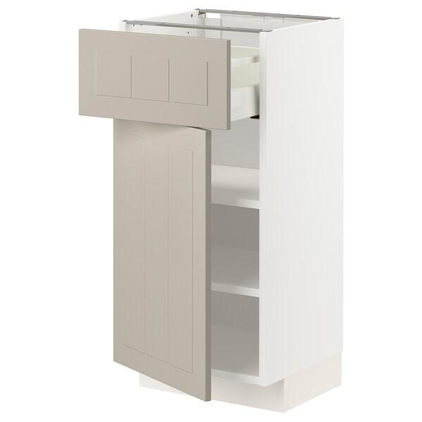 METOD / MAXIMERA خزانة قاعدة مع درج/باب, أبيض/Stensund بيج, 40x37 سم