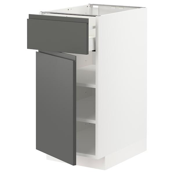 METOD / MAXIMERA خزانة قاعدة مع درج/باب, أبيض/Voxtorp رمادي غامق, 40x60 سم