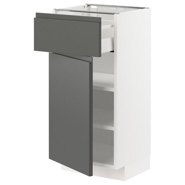 METOD / MAXIMERA خزانة قاعدة مع درج/باب, أبيض/Voxtorp رمادي غامق, 40x37 سم