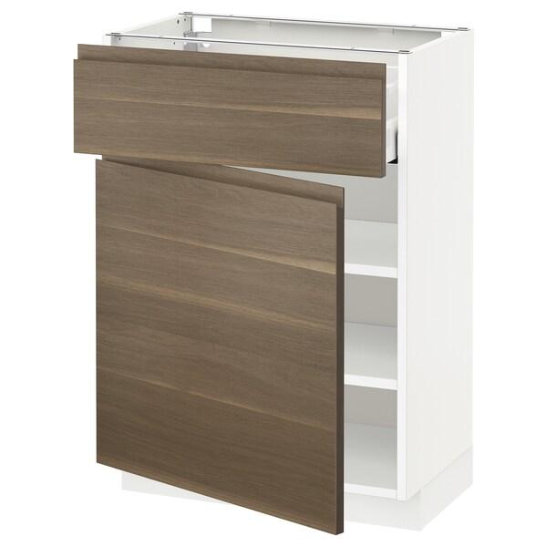 METOD / MAXIMERA خزانة قاعدة مع درج/باب, أبيض/Voxtorp شكل خشب الجوز, 60x37 سم
