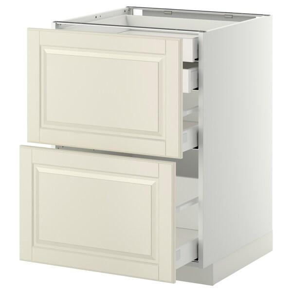 METOD / MAXIMERA Base cb 2 frnts/2 low/1 md/1 hi drw, white/Bodbyn off-white, 60x60 cm