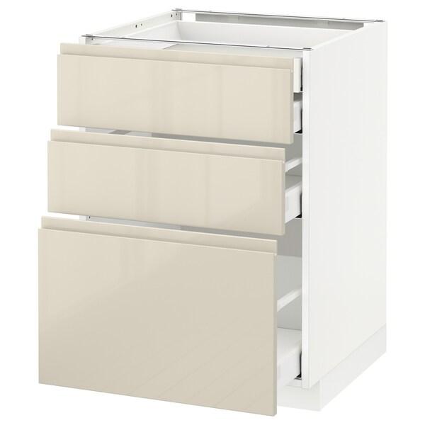 METOD / MAXIMERA Base cb 3 frnts/2 low/1 md/1 hi drw, white/Voxtorp high-gloss light beige, 60x60 cm