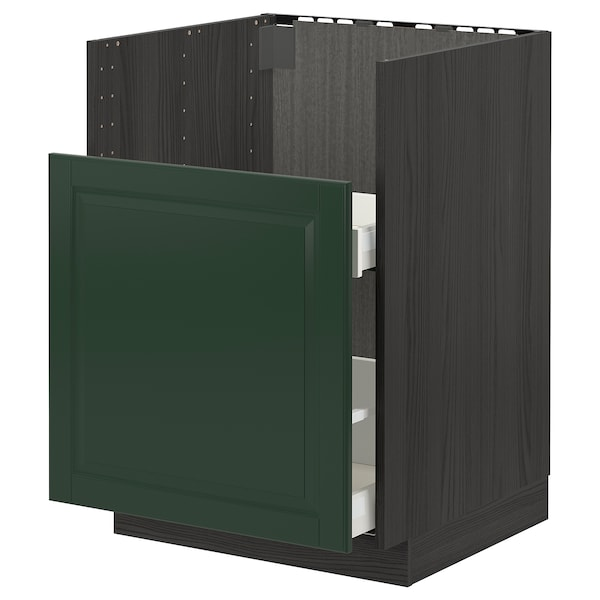 METOD / MAXIMERA قاعدة خزانة حوض غسيل BREDSJÖN, أسود/Bodbyn أخضر غامق, 60x60 سم