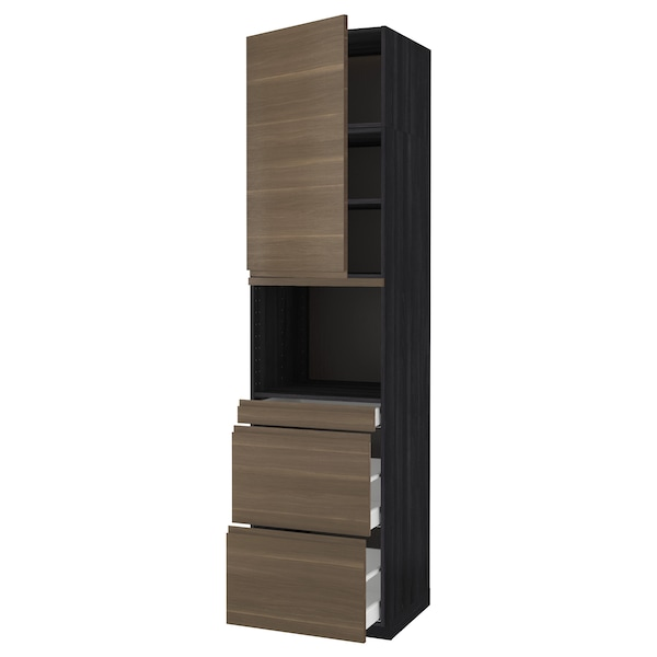 METOD / MAXIMERA خزانة عالية لميكروويف وباب/3 أدرا, أسود/Voxtorp شكل خشب الجوز, 60x60x240 سم