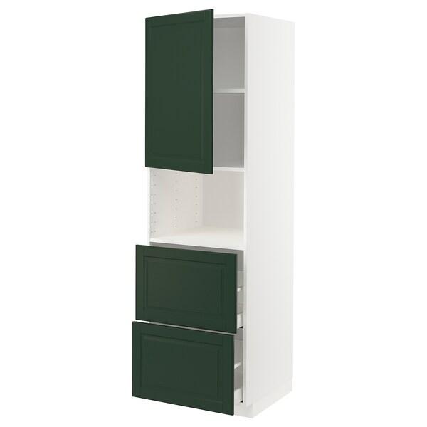 METOD / MAXIMERA خزانة عالية لميكروويف مع باب/درجين, أبيض/Bodbyn أخضر غامق, 60x60x200 سم