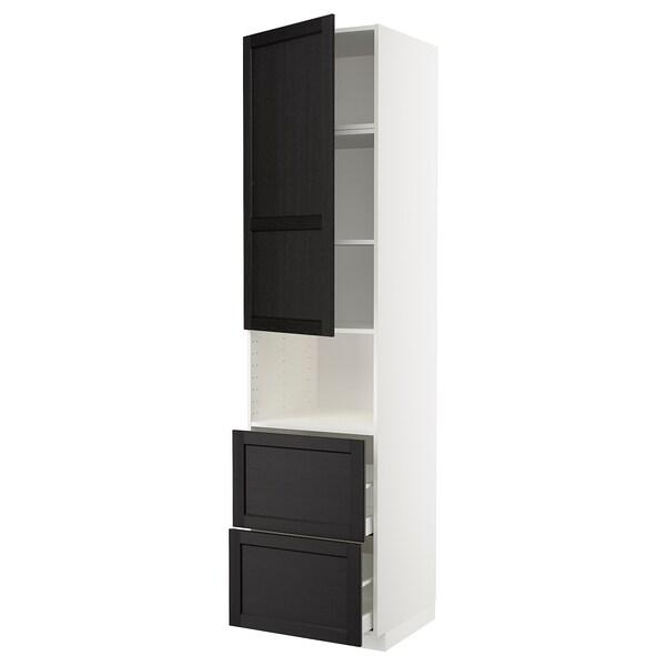 METOD / MAXIMERA خزانة عالية لميكروويف مع باب/درجين, أبيض/Lerhyttan صباغ أسود, 60x60x240 سم