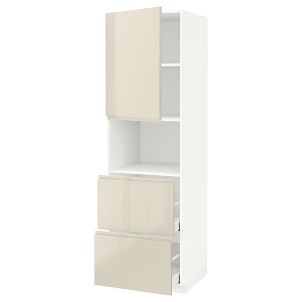 METOD / MAXIMERA خزانة عالية لميكروويف مع باب/درجين, أبيض/Voxtorp بيج فاتح لامع, 60x60x200 سم