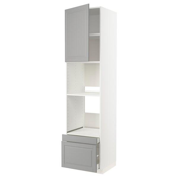 METOD / MAXIMERA خزانة عالية لفرن/فرن مع ب./2 د., أبيض/Bodbyn رمادي, 60x60x240 سم