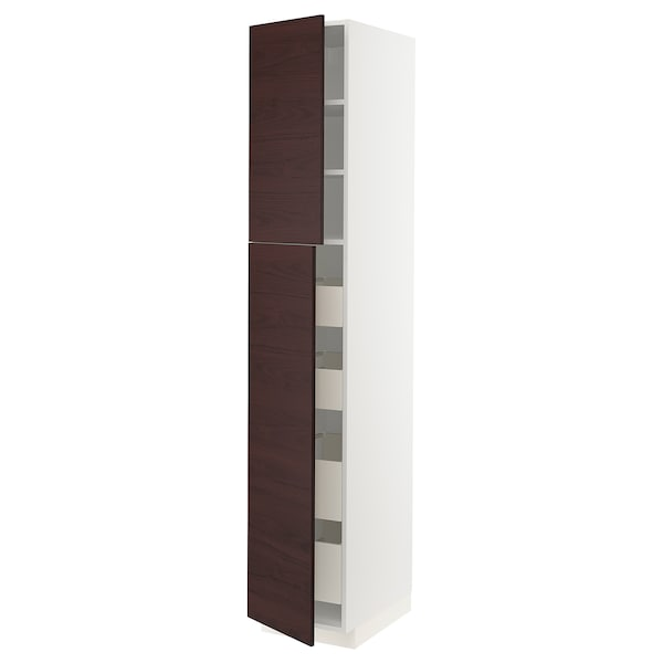 METOD / MAXIMERA Hi cab w 2 doors/4 drawers, white Askersund/dark brown ash effect, 40x60x220 cm