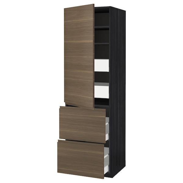METOD / MAXIMERA خزانة عالية+أرفف/4أدراج/باب/2, أسود/Voxtorp شكل خشب الجوز, 60x60x200 سم