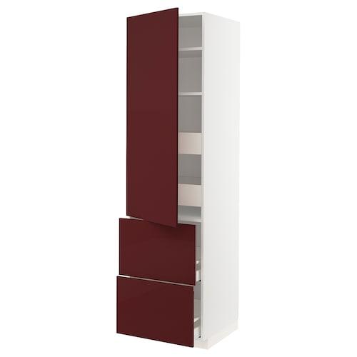 METOD / MAXIMERA hi cab w shlvs/4 drawers/dr/2 frnts white Kallarp/high-gloss dark red-brown 60.0 cm 61.6 cm 228.0 cm 60.0 cm 220.0 cm