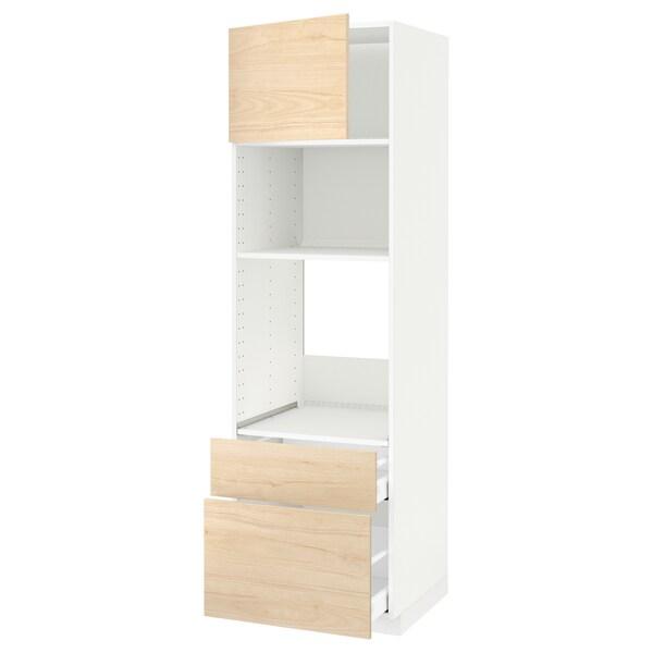 METOD / MAXIMERA خزانة عالية لفرن/م. مع باب/2 أدراج, أبيض/Askersund مظهر دردار خفيف, 60x60x200 سم