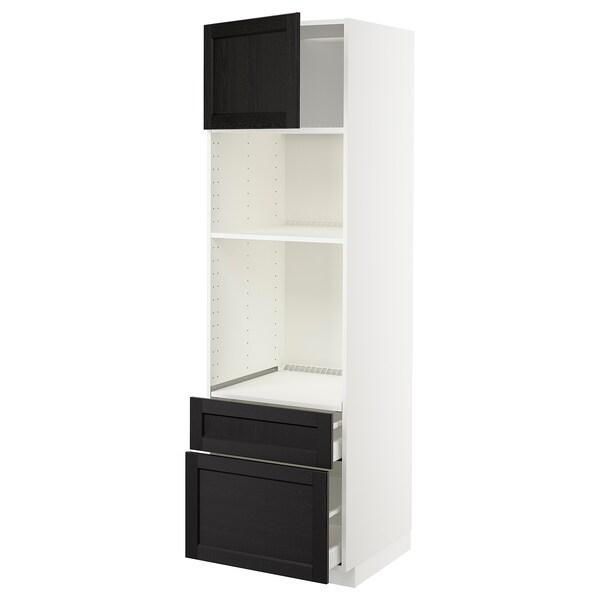 METOD / MAXIMERA خزانة عالية لفرن/م. مع باب/2 أدراج, أبيض/Lerhyttan صباغ أسود, 60x60x200 سم