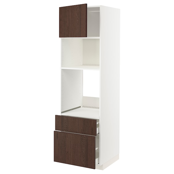 METOD / MAXIMERA خزانة عالية لفرن/م. مع باب/2 أدراج, أبيض/Sinarp بني, 60x60x200 سم