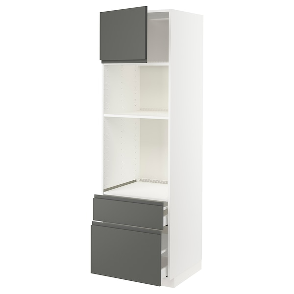 METOD / MAXIMERA خزانة عالية لفرن/م. مع باب/2 أدراج, أبيض/Voxtorp رمادي غامق, 60x60x200 سم
