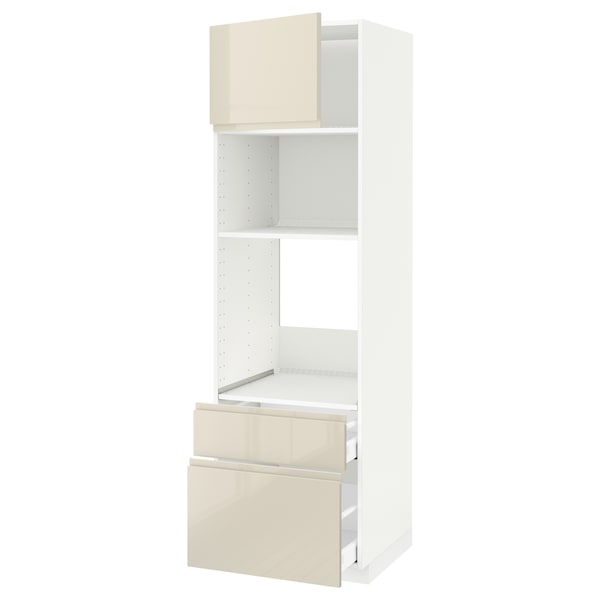 METOD / MAXIMERA خزانة عالية لفرن/م. مع باب/2 أدراج, أبيض/Voxtorp بيج فاتح لامع, 60x60x200 سم