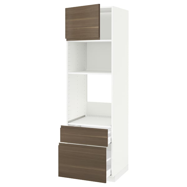 METOD / MAXIMERA خزانة عالية لفرن/م. مع باب/2 أدراج, أبيض/Voxtorp شكل خشب الجوز, 60x60x200 سم