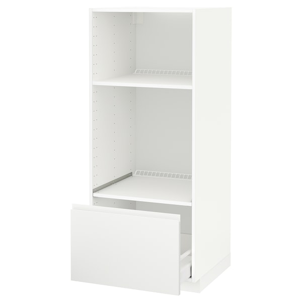 METOD / MAXIMERA high cab for oven/micro w drawer white/Voxtorp matt white 60.0 cm 62.1 cm 148.0 cm 60.0 cm 140.0 cm