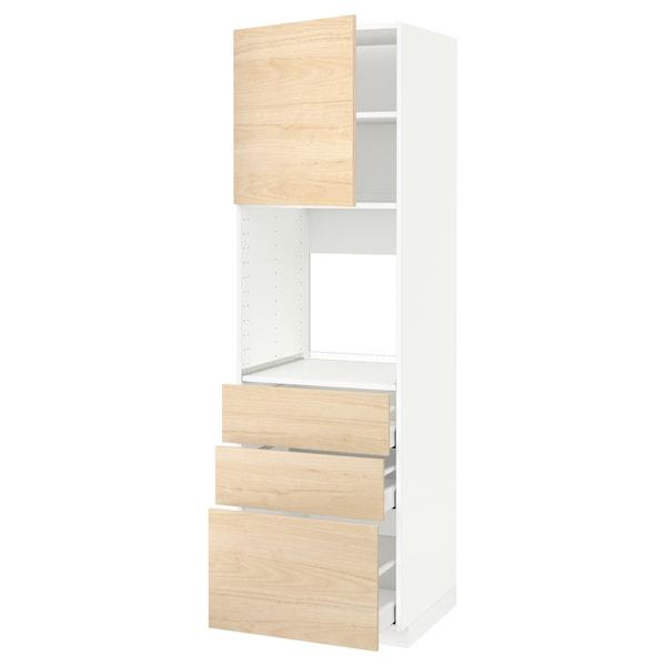 METOD / MAXIMERA خزانة عالية للفرن مع باب/3 أدراج, أبيض/Askersund مظهر دردار خفيف, 60x60x200 سم