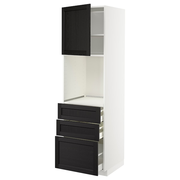 METOD / MAXIMERA High cab f oven w door/3 drawers, white/Lerhyttan black stained, 60x60x200 cm