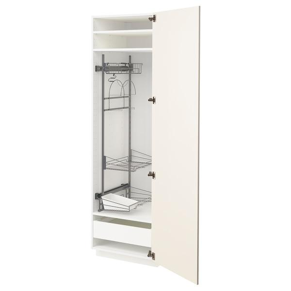 METOD / MAXIMERA خزانة مرتفعة مع أرفف مواد نظافة, أبيض/Bodbyn أبيض-عاجي, 60x60x200 سم